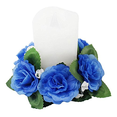 Powerfulline Artificial Flower Floral Candle Ring Holder Wedding Tabletop Centerpiece Decor (Blue)