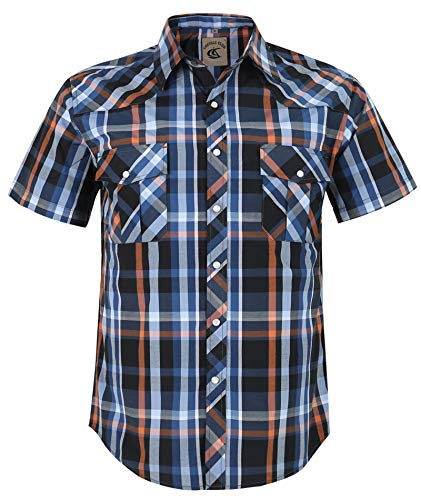 Coevals Club Men's Button Down Plaid Short Sleeve Work Casual Shirt (Blue & Orange #5, XXL) ()