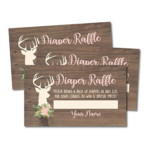 25 Oh Deer Diaper Raffle Ticket Lottery Insert Cards for Girl Baby Shower Invitations, Buck Hunting Supplies and Games for Gender Party, Bring a Pack of Diapers to Win Favors, -