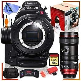 Canon C100 Cinema EOS Camera with CN-E 18-80mm T4.4 Compact-SERVO Cinema Zoom Lens, 128GB Memory Card Bundle