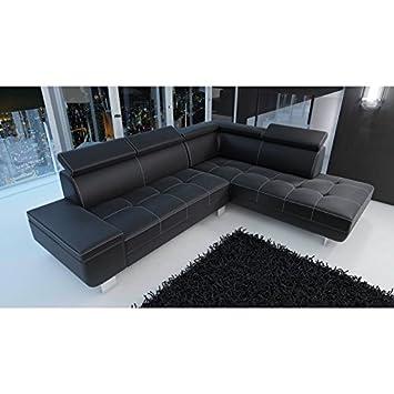 Canapé Dangle Moderne Et Design DAYLON En Simili Cuir Noir Amazon - Canapé moderne design