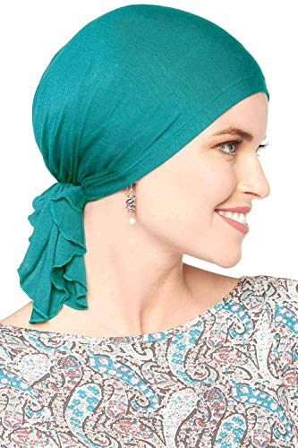 Bamboo Slip-On Pre-Tied Scarf-Caps for Women with Chemo Cancer Hair Loss Luxury Bamboo - Surf