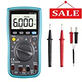 Digital Multimeter, 6000 Counts Autoranging Multimeters with Capacitance / Temperature / AC / DC Current Transistor Test, Electronic Amp Volt Ohm Voltage Meter with Diode and Continuity Test Tester