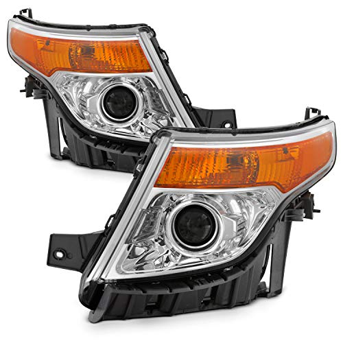 - Fits 2011-2015 Ford Explorer Projector chrome Headlights [Halogen Type] Pair Left Driver+Right Passenger