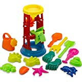 Beach Toy Set with Water Wheel Assorted 15 PC | Sand Molds | Sand Sift | Shovel | Watering Can - Kids Multicolored 15 Pack Sand Toy Set with Rotating Sand and Water Wheel for Beach | Pool | Sandbox