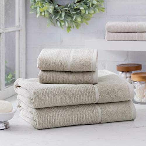 Welhome Anderson Luxurious 100% Turkish Cotton 6 Piece Towel Set (Mushroom) Supersoft - Absorbent - Hotel Spa Bathroom Towel collection - Machine Washable 2 Bath Towels - 2 Hand Towels - 2 Wash Towels