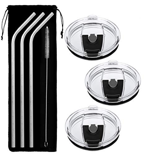 Tumbler Lids, 100% Spill Proof Lid & 3 Free Stainless Steel Drinking Straws- No Leak, Straw Friendly & Clamshell Locking Closure Replacement Lids Fits Yeti Rambler, Rtic, Ozark by COOLGUY (30 Oz) by COOLGUY
