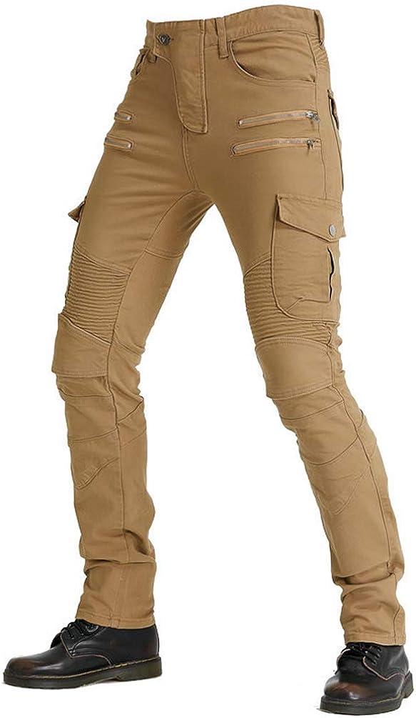 YuanDiann Hombre Mujer Jeans De Moto Pantalon Motorista Vaqueros De Moto Cremallera Mezclilla Motociclista Proteccion Pantalon con 2 Protectores Rodilla y 2 Protectores Cadera