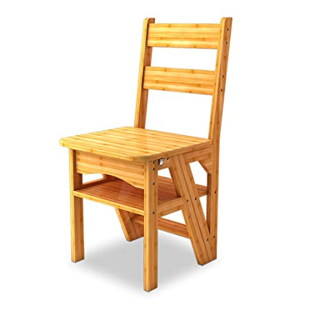 Wondrous Folding Dual Purpose Stepladder Bamboo 4 Step Stair Chair Download Free Architecture Designs Scobabritishbridgeorg