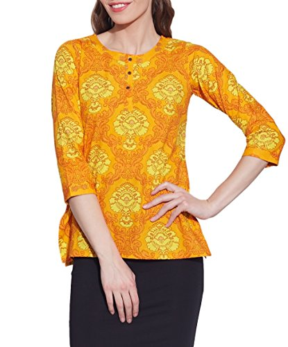 Cotton-Printed-Kurti-Women-Apparels-Yellow-Tops