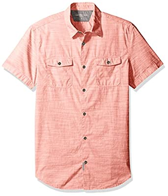 Calvin Klein Jeans Men's Short Sleeve Cross Hatch Slub Button Down Shirt