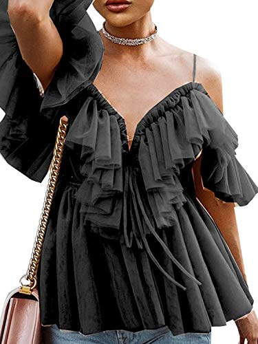 Simplee Women's Sexy Off Shoulder Deep V Neck Tops Lace Up Ruffle Blouse Shirt (4/6, Black)