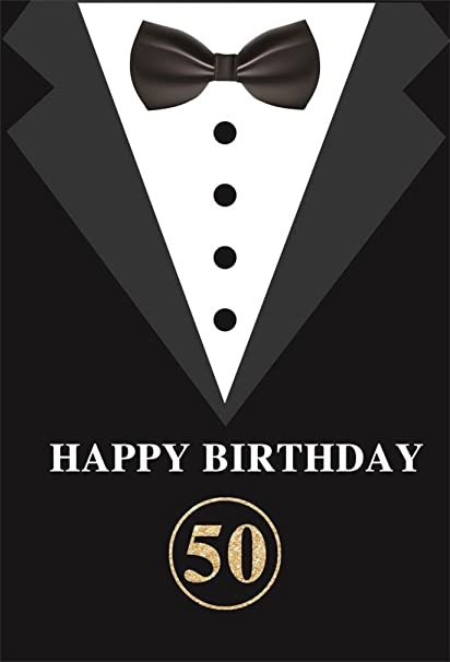 AOFOTO 5x7ft Happy 50th Birthday Backdrop Abstract Bow Tie Dress Fatherhood Photography Background Father Man Dad