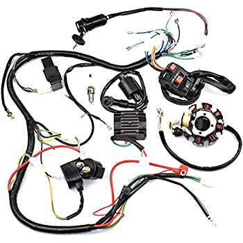 amazon com complete wiring harness kit wire loom electrics stator electrical wiring harness cloth tape complete wiring harness kit wire loom electrics stator coil cdi for atv quad 4 four wheelers