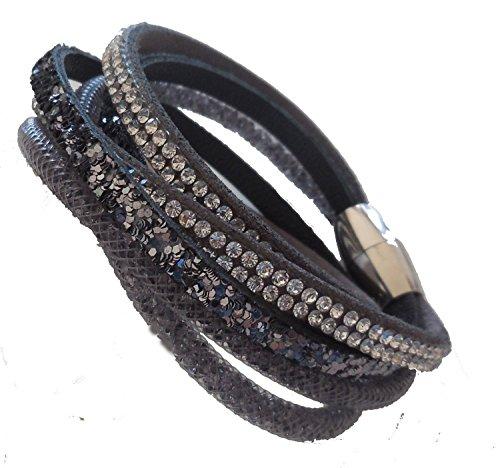 parure style swarovski stardust noire filet noir et cristal argenté brillant:bracelet 2 tour et bracelet 1 tour