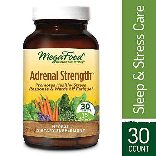 MegaFood - Adrenal Strength, Support for Energy, Focus, Alertness, Fatigue and Stress Management with Ashwagandha and Reishi Mushrooms, Vegetarian, Gluten-Free, Non-GMO, 30 Tablets (FFP)