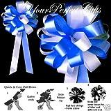 ROYAL BLUE WHITE WEDDING 8'' PEW BOWS BRIDAL SHOWER CAKE