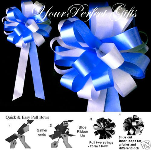 ROYAL BLUE WHITE WEDDING 8'' PEW BOWS BRIDAL SHOWER CAKE