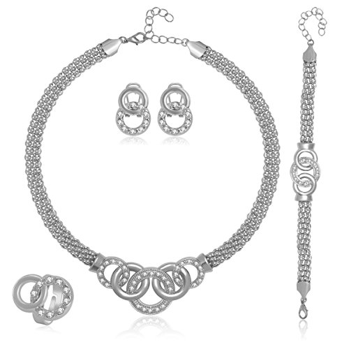 Women's Fashion African Style Rhinestoens Silver-Plated Connected Circles Jewelry Set Necklace Bracelet Earrings Ring Plated Costume Fashion Jewelry