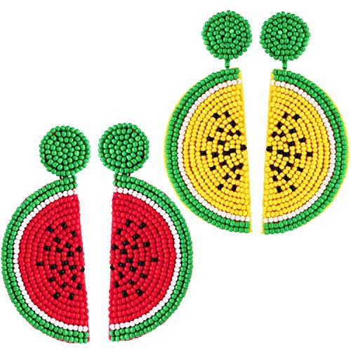 2 Pairs Fruit Watermelon Shape Drop Earrings Bohemian Seed Bead Earrings Handmade Beaded Dangle Studs Earrings for Women Girls Party Jewelry (Red, Yellow)