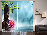 Ambesonne Zen Meditation Decor Collection, Water Lily Flowers Spa Nature and Feng Shui Calm Water Picture Pattern, Window Treatments, Living Kids Girls Room Curtain Set, 108 X 90 Inches, Sky Blue Pink Review