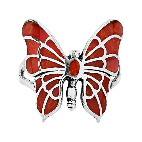 (AeraVida Exotic Graceful Butterfly Reconstructed Red Coral Inlay .925 Sterling Silver Ring (6))