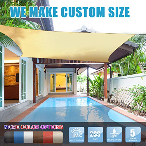 Amgo 12 x 16 Beige Rectangle Sun Shade Sail Canopy Awning, 95 UV Blockage, Water Air Permeable, Commercial and Residential, for Patio Yard Pergola, 5 Years Warranty Available for Custom Sizes