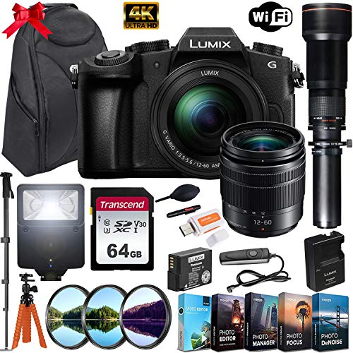 Panasonic Lumix DMC-G85 Mirrorless Micro Four Thirds Digital Camera with Panasonic 12-60mm Lens & 650-1300mm Telephoto Lens + 64GB Memory Card, Backpack, Flash, Editing Software Kit & More