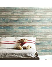 RoomMates - RMK9052WP Distressed Wood Blue Peel and Stick Wallpaper | Removable Wallpaper | Self Adhesive Wallpaper