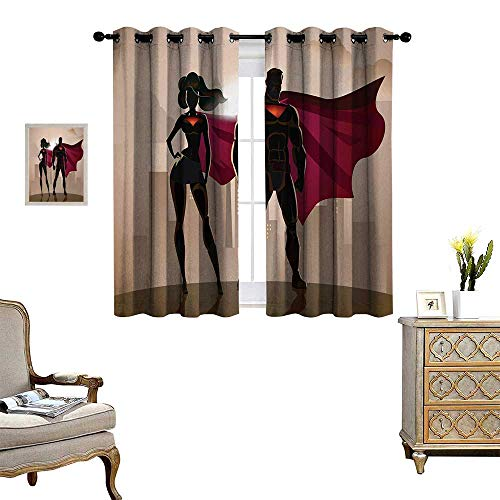 Superhero Window Curtain Fabric Super Woman and Man Heroes in City Solving Crime Hot Couple in Costume Drapes for Living Room W55 x L39 Beige Brown Magenta -