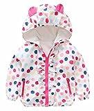 Baby Girls Cartoon Rabbit Outerwear Windbreaker Waterproof Raincoat Ruffle Zipper Hooded Jackets Coat Size 12-18Months/Tag6 (White)