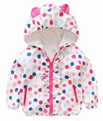 Baby Girls Cartoon Rabbit Outerwear Windbreaker Waterproof Raincoat Ruffle Zipper Hooded Jackets Coat Size 2-3Years/Tag10 (White)