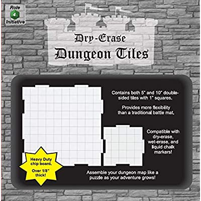 "Dry Erase Dungeon Tiles, Combo Set of Five 10"" and Sixteen 5"" Interlocking Squares for Role-Playing and Miniature Tabletop Games: Toys & Games"
