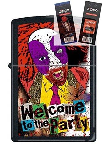 Zippo 218 Evil Clown Welcome Party Lighter Withflint & Wick Gift Set (Evil Clown Lighter)