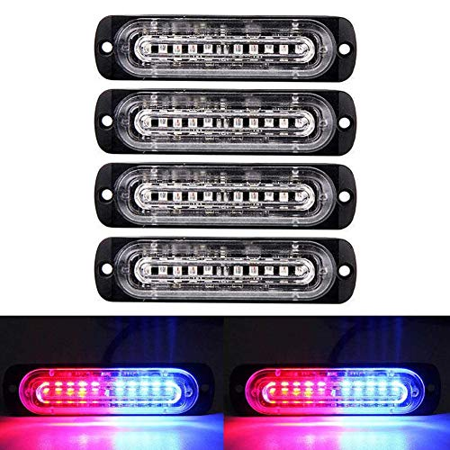 XT AUTO 4.4-inch Ultra Thin Slim Strobe 10 LED Light Head Emergency Hazard Beacon Caution Warning Strobe Lights for Truck Car Vehicle Law Enforcement Snow Plow Red Blue 4-Pack ()