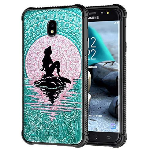 Rugged Armor Galaxy J7 Refine Case/Galaxy J7 2018 Case/Galaxy J7 Star Case, Mermaid with Moon Pattern Tempered Glass Back Cover Soft TPU Bumper Frame Shock Absorption Case for Samsung Galaxy J7 (2018)