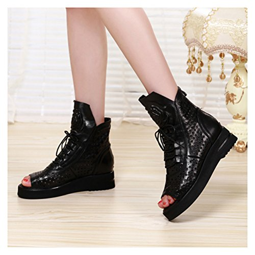 Bootie Boots Women's Fashion UpSun out Hollow Summer 1 Black Upper C0T61xpqw