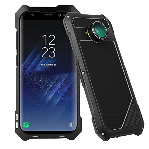 Samsung Galaxy S8 Camera Lens Kit Case, SHEROX - 3 in 1 198° Fisheye Lens + 15X Macro Lens + Wide Angle Lens with IP54 Dustproof Shockproof Aluminum Case for Galaxy S8 (5.8