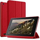 Poetic Slimline Fire 7 2017 Premium Fabric Slim-Fit lightweight Trifold Cover Stand Folio smart cover Case with Auto Sleep/Wake for Amazon Fire 7 (7th Generation, 2017 Release) Red
