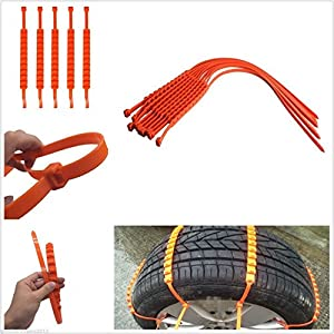 10Pcs Easy Installation Easy Remove Anti-skip Wheel Tyre Snow Chain Universa Fit For 175 to 295 Tyres