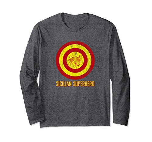 Unisex Sicilian Pride - Sicilia Flag Super Hero Style T-Shirts XL: Dark Heather (Sicilian Unisex T-shirt)
