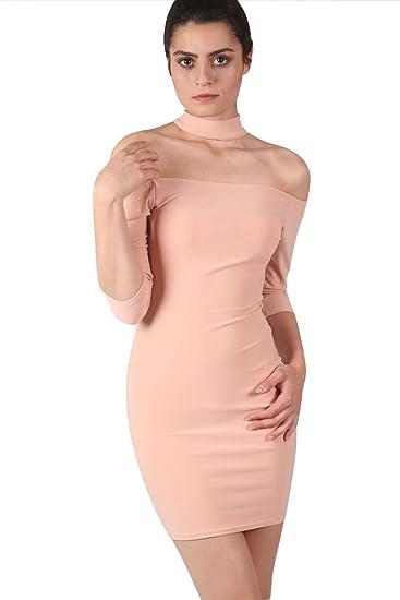e0b5655b23e5f PILOT® Women s Choker Detail Off Shoulder Bodycon Mini Dress in Dusty Pink