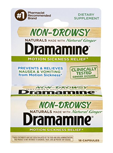 Dramamine Motion Sickness Relief Non-Drowsy Naturals | 18 Capsules | Pack of 4 | Made with Natural Ginger