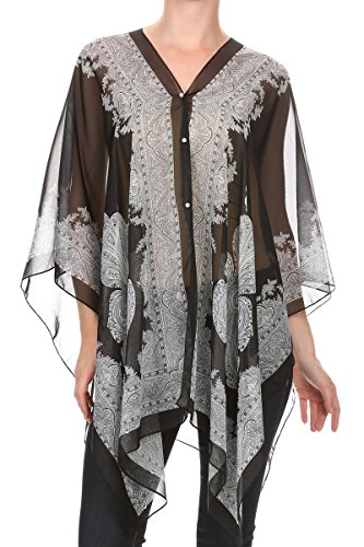 Chiffon Poncho Cover - LL Ladies Black Loose Chiffon Short Poncho Native Top Shirt Blouse Scarf Spring