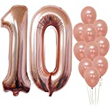 Rose Gold 10 Number Balloons Decorations - Extra Latex Balloons and Foil Mylar Ballons | 10th Birthday Party Decorations | 10 Year Party Supllies for Bday Decor, Anniversary, 32 Foot Balloons String