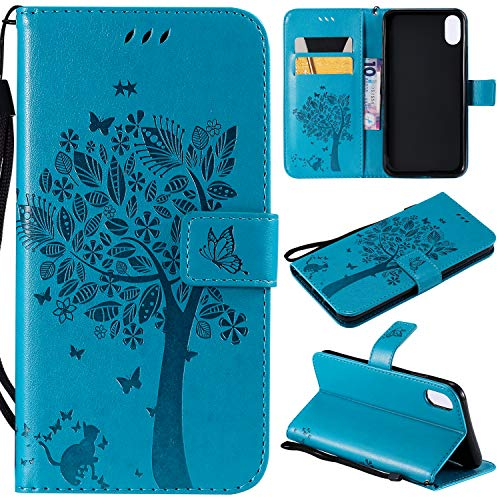 NOMO iPhone XR Case,iPhone XR Wallet Case,iPhone XR Flip Case PU Leather Emboss Tree Cat Flowers Folio Magnetic Kickstand Cover with Card Slots for Apple iPhone XR (6.1 inch) 2018 Release, Blue