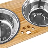 FOREYY Raised Pet Bowls for Cats and Dogs, Bamboo
