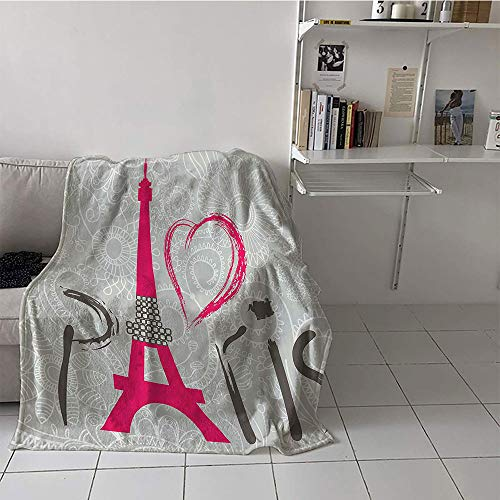 Children's blanket Lightweight Lightweight E x tra Big (60 By 70 Inch,Eiffel Tower Decor Collection,Paris Lettering I Love Paris over Lace Pattern Background Heart Shape Classic Image,Magenta)