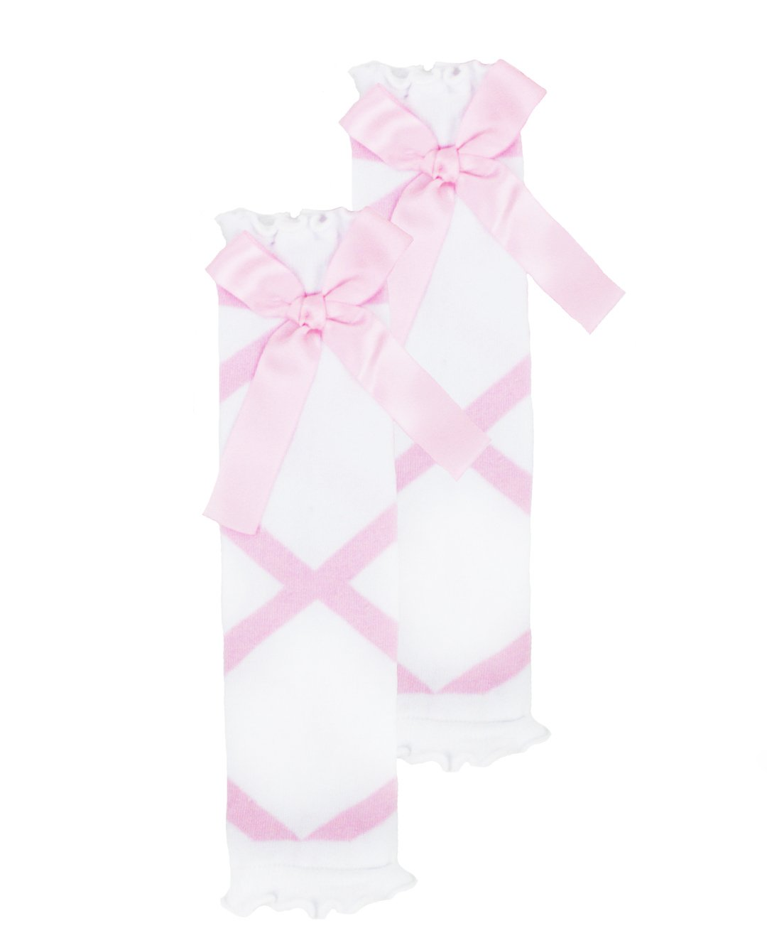 RuffleButts Little Girls Pink and White Ballet Bow Leg Warmers - One Size by RuffleButts