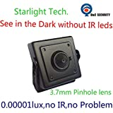Analog 700TVL Low Light Hidden Mini CCTV Security Camera Black 0.00001Lux Day and Night Color Image Starlight with 3.7mm Pinhole lens